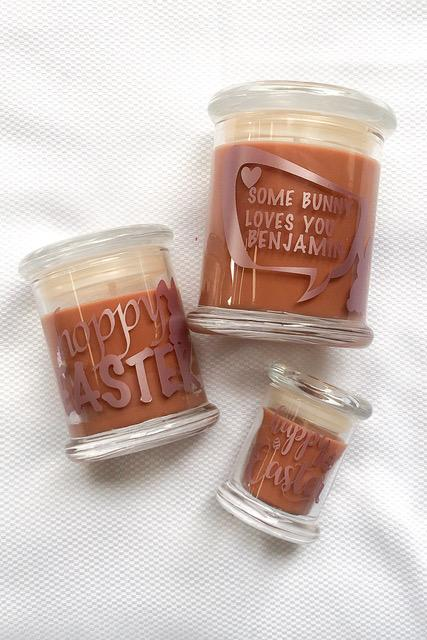 Personalised label Soy Chocolate Candle Easter Vegan