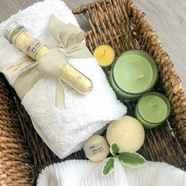 self care bath time salts, candles and towels