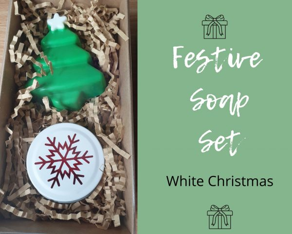 Festive soap set white christmas scent soy candle and goats milk soap